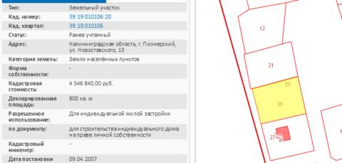 Продажа участка, Пионерский, Ул. Новоставского